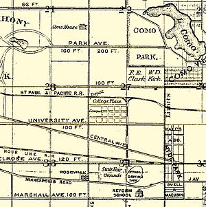 "Hamline University - In the center of this 1874 map is the new St. Paul Hamline University campus that was under construction. Here it is labeled ""College Place."""