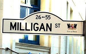 Milligan Street, Perth - Street sign - Milligan Street