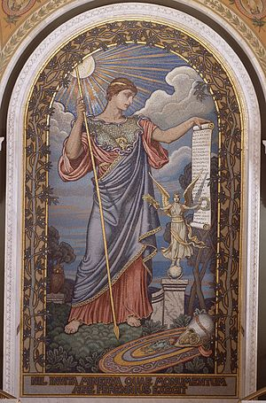 "Epistles (Horace) - Mosaic of Minerva by Elihu Vedder (Thomas Jefferson Building). Beneath the mosaic is an inscription from Horace's Ars Poetica: ""Nil invita Minerva, quae monumentum aere perennius exegit, and translated as, Not unwilling, Minerva raises a monument more lasting than bronze."""