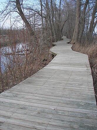 Mingo National Wildlife Refuge - A section of boardwalk trail leads to an observation platform.