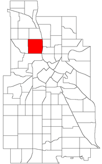Location of Hawthorne within the U.S. city of Minneapolis