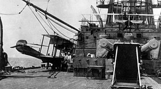 USS Mississippi (BB-23) - USS Mississippi off Vera Cruz, Mexico in 1914 with aircraft on board.