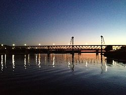 The Missouri River and Meridian Bridge, Yankton, S.D.