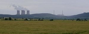 Mochovce Nuclear Power Plant - Mochovce Nuclear Power Plant from the main road between Nitra and Levice