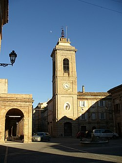 Square of Montefiore with bell tower, fountain and loggia