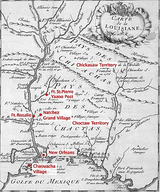 Natchez revolt - Map published in 1753 by Dumont de Montigny in his Mémoires Historiques sur la Louisiane, with labels added to show locations of places mentioned in the text