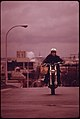 Motorcycles Came Out of Summer Vacation Retirement During the Fuel Crisis in the Pacific Northwest During the Fall of 1973. This Person Is Riding in Portland 11-1973 (4271733545).jpg