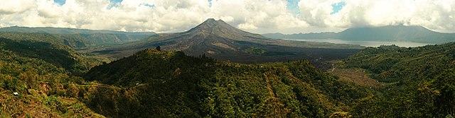 Panorama of Mount Batur, Bali, Indonesia.