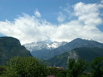Litochoro - View of the peaks of Mount Olympus, from Litochoro.