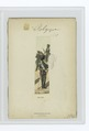 Mounted soldier with a rifle and two standing soldiers in green uniforms with red accents (NYPL b14896507-86056).tiff