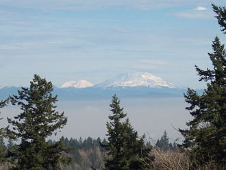 Portland, Oregon - Mt. Rainier (left) and Mt. St. Helens (right) photographed from Mount Calvary Cemetery in Portland.