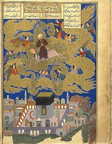 Миниатюра из рукописи Хамсе, датированная 1494г., изображающая восхождение Мухаммеда на Бураке из Мекки на небеса (Мирадж), а также многокрылого архангела Гавриила (справа)