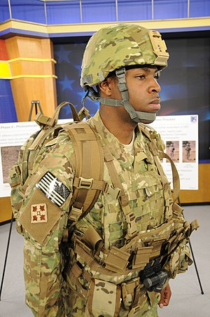 Advanced Combat Helmet - A 4th Infantry Division soldier wearing an ACH helmet in the MultiCam pattern