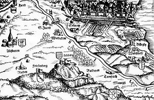 Wiedikon - Wiedikon (centered) on Murerplan (1566)