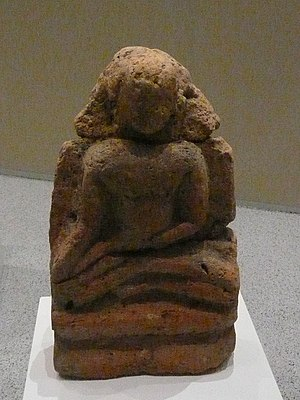 Bujang Valley - A seated Bodhisattva carved in terracotta, from site 21/22
