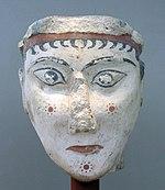Cabeza de mujer, uno de los raros ejemplos de plástica monumental micénica, Museo nacional de arqueología de Atenas