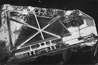 Mill Basin, Brooklyn - Aerial view of Floyd Bennett Field, located south of Mill Basin, in the 1940s