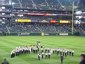 Newport High School (Bellevue, Washington) - The NHS band playing at Safeco Field on the Seattle Mariners' opening day, April 3, 2007.