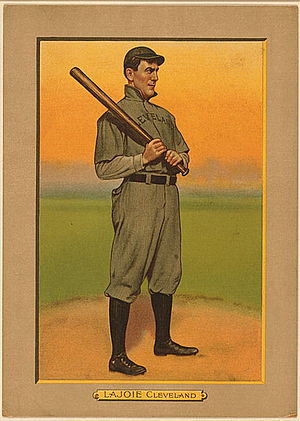 Nap Lajoie - Nap Lajoie on a 1911 American Tobacco Company baseball card