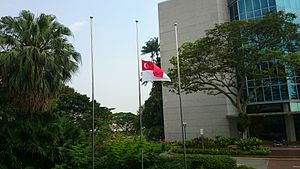 Lee Kuan Yew - National Flag at half-mast at Nanyang Technological University following the death of Lee Kuan Yew