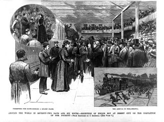 Nellie Bly - A woodcut image of Nellie Bly's homecoming reception in Jersey City printed in Frank Leslie's Illustrated News on February 8, 1890.