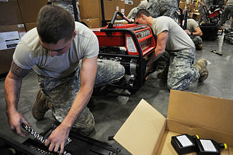 New York Army National Guard - Soldiers with the New York Army National Guard's 206th Military Police Company, assemble portable generators