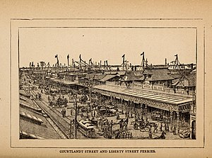 Liberty Street Ferry Terminal - Image: New York by sunlight and gaslight a work descriptive of the great American metropolis; its high and low life; its splendors and miseries; its virtu (1882) (14779729932)