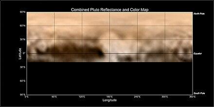 404e8426061a3 Mapa da superfície de Plutão, mostrando grandes variações de cor e albedo.