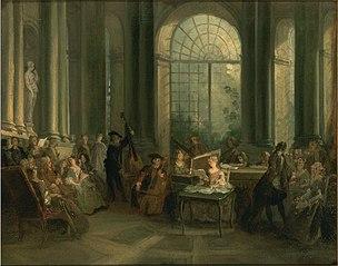 Concert dans le salon ovale du château de Pierre Crozat à Montmorency