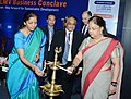 Nirmala Sitharaman along with the Chief Minister of Rajasthan, Smt. Vasundhara Raje Scindia lighting the lamp at the 4th India-CLMV Business Conclave, in Jaipur.jpg