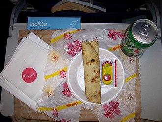 Nirula's - Nirula's kathi roll meal on an IndiGo flight