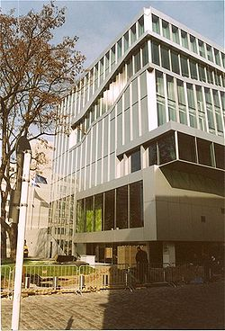 Netherlands Embassy in Berlin, Germany, opened in 2004. Koolhaas's design won the Architekturpreis Berlin in 2003 and the Mies van der Rohe Award for European Architecture in 2005.