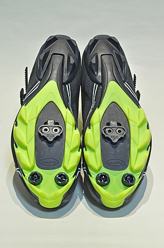Cleat (shoe) - The bottom of a cycling shoe.