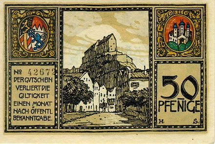 Notgeld 50 pfennig banknote issued by the southern German city of Burghausen in 1918