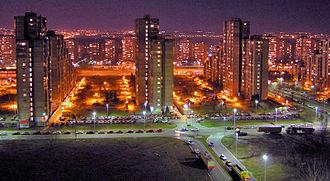 Blokovi - New Belgrade's Blok 62 at night