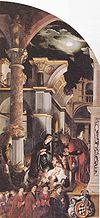 Oberried Altarpiece (right wing panel, the birth of Christ), by Hans Holbein the Younger.jpg