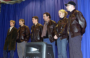 Part of the cast of the 2001 film Ocean's Eleven at Incirlik Air Base,  Turkey. The cast from left to right is Brad Pitt, George Clooney, Matt  Damon, ...