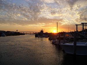 Holden Beach, North Carolina - Intracoastal Waterway with bridge in background