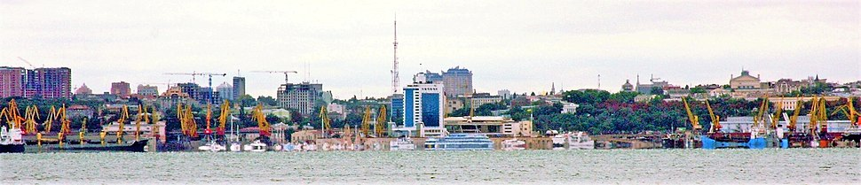 A panoramic view of central Odessa, as seen from the Black Sea.