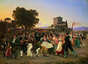 Wilhelm Marstrand -  Amusement outside the walls of Rome on an October evening (1839)