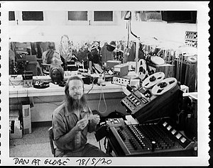 Dan Dugan (audio engineer) - 1978: Dugan prepares sound design materials in a dressing room at the Old Globe Theatre in San Diego