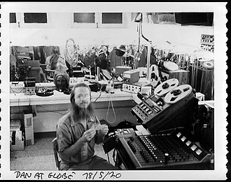 Dan Dugan (audio engineer) - 1978: Dugan prepares sound design materials in a dressing room at the Old Globe Theatre in San Diego