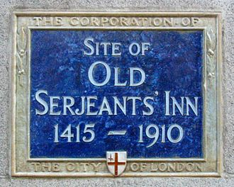 Serjeant-at-law - A plaque marks the site of Old Serjeants' Inn in Chancery Lane