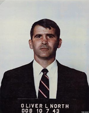 United States and state-sponsored terrorism - A mug shot of Oliver North, who conducted covert operations in support of the Contras