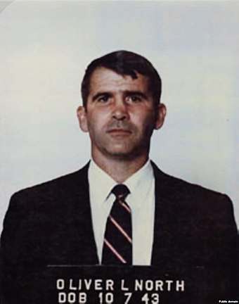 The ACLU defended Oliver North in 1990, arguing that his conviction was tainted by coerced testimony. Oliver North mug shot.jpg