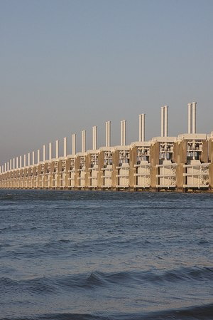 Delta Works - Oosterscheldekering, the largest of thirteen Delta Works' dams and barriers.