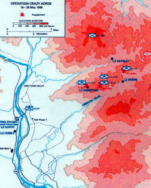 Operation Crazy Horse - A map of the Vinh Thanh valley and Operation Crazy Horse in Binh Dinh Province, May 1966