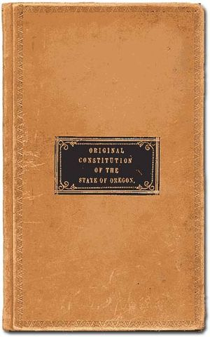 Constitution of Oregon - The leather cover of the original Oregon Constitution