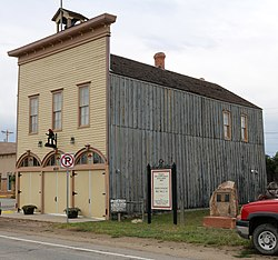 The original Silver Cliff firehouse & town hall, now a museum, on Main St.
