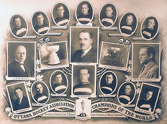1926–27 Ottawa Senators season - Team photograph. Trophies won: Stanley Cup, O'Brien Cup, Prince of Wales Trophy.